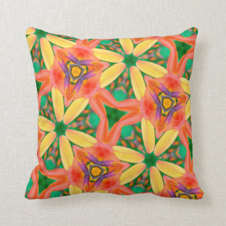 Abstract Art Pattern Peach, Green And Yellow Cushion