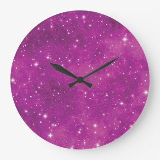 Abstract Art Pink and Purple Universe Large Clock