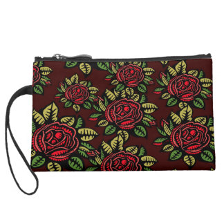 Abstract art pretty retro roses Sueded mini clutch Wristlet