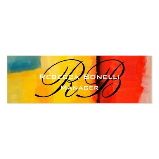 Abstract Art Script Monogram Skinny Business Card