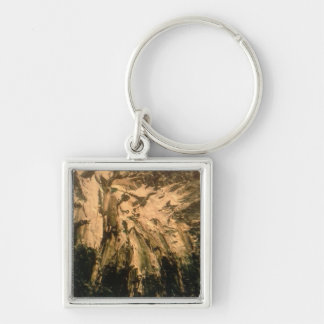 Abstract art Silver-Colored square key ring