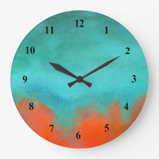 Abstract Art Sky Fire Lava Coral Turquoise Orange Large Clock