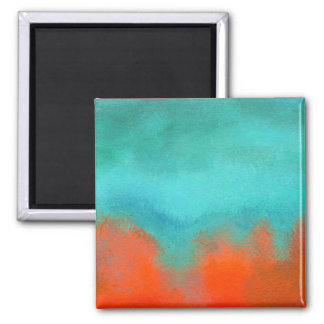 Abstract Art Sky Fire Lava Coral Turquoise Orange Square Magnet