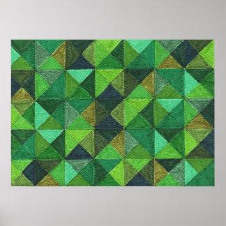 Abstract Art Study Green Diamonds Poster Print