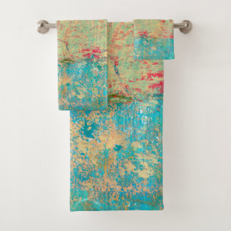 Abstract Art Texture Painting Turquoise Red Green Bath Towel Set