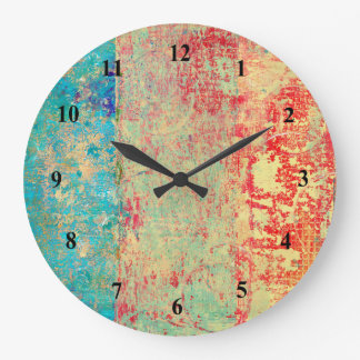 Abstract Art Texture Painting Turquoise Red Green Large Clock