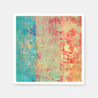 Abstract Art Texture Painting Turquoise Red Green Paper Napkin