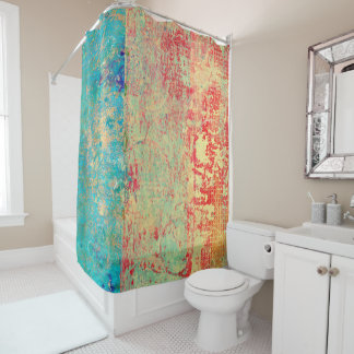 Abstract Art Texture Painting Turquoise Red Green Shower Curtain