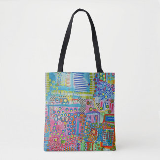 "Abstract Art Tote Bag ""Dots & Ladders"""