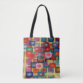 """Abstract Art Tote Bag """"Square Grid"""""""