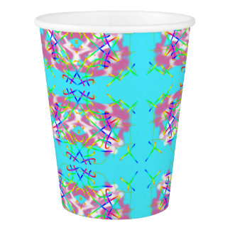 Abstract Art Turquoise Lines Paper Cup