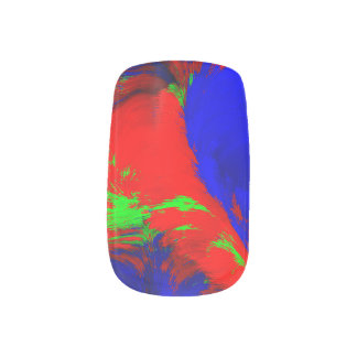 abstract Art Water Marble Red Blue Green Swirl Minx Nail Art