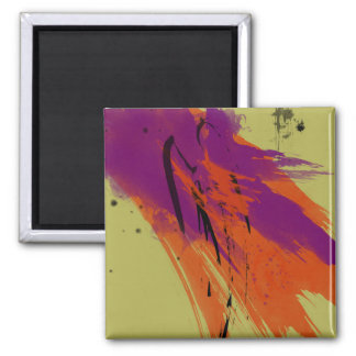 Abstract Art Watercolors Orange Purple Green Black Square Magnet