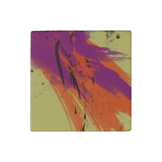 Abstract Art Watercolors Orange Purple Green Black Stone Magnet