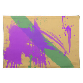 Abstract Art Watercolors Paint Purple Green Gold Placemat