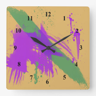 Abstract Art Watercolors Paint Purple Green Gold Square Wall Clock