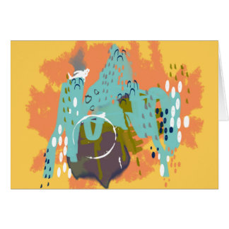 Abstract Art Whimsical Architecture Gold Mint Navy Card
