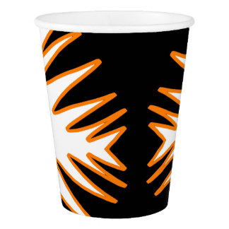Abstract Art White Orange Black Paper Cup