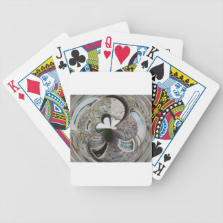 Abstract artistic background of rural house bicycle playing cards