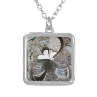 Abstract artistic background of rural house silver plated necklace