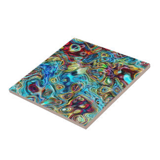 Abstract Artistic Retro Cool Waves Pattern Ceramic Tile