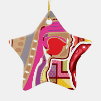 Abstract Artwork Throat n Nose diagram Ceramic Ornament