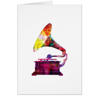Abstract Arty Greetings Card - Gramophone