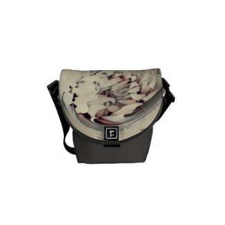 Abstract Asian Inspired Flower Pencil Sketch Messenger Bags