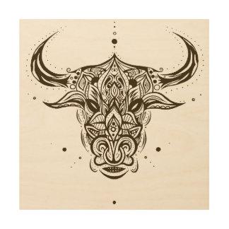 Abstract Astro Taurus Bull Symmetric Wood Wall Art