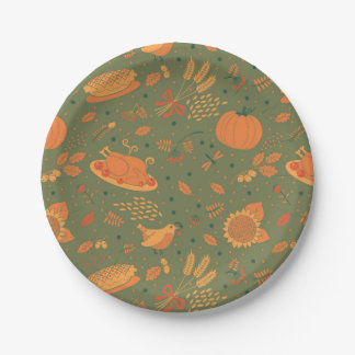 Abstract Autum Harvest Pattern 7 Inch Paper Plate