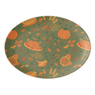 Abstract Autum Harvest Pattern Porcelain Serving Platter