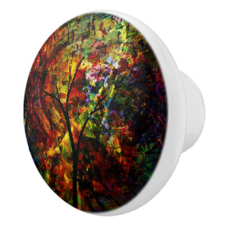 Abstract Autumn Ceramic Knob