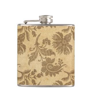 Abstract Autumn/Fall Flower Patterns Hip Flask