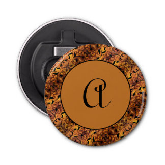 Abstract Autumn Leaf Silhouette Pattern Monogram Bottle Opener