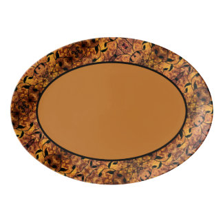 Abstract Autumn Leaf Silhouette Pattern Porcelain Serving Platter