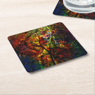 Abstract Autumn Square Paper Coaster