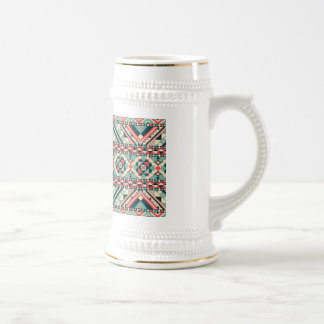 Abstract Aztec Pattern Beer Steins