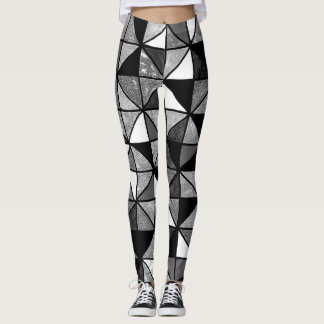 abstract b and w leggings