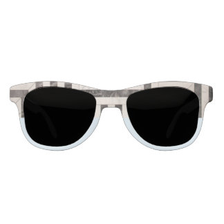 Abstract B&W and Blue Statement Sunglasses