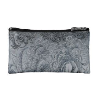 Abstract Background Grey Feathers Cosmetic Bag