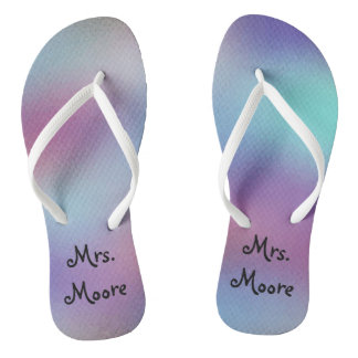 Abstract Background Personalized Mrs Wedding Thongs