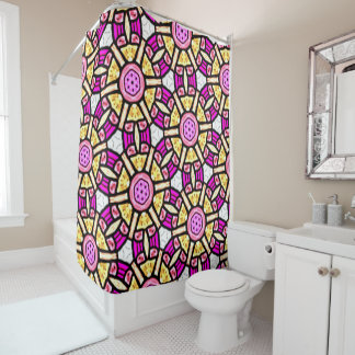 Abstract Background Purple And Gold Stained Glass Shower Curtain