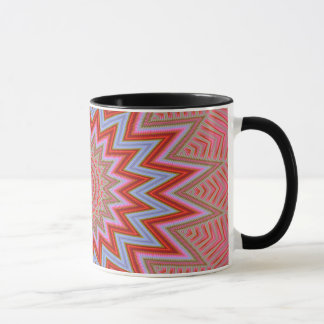 Abstract Background Red And Pink Concentric Stars Mug
