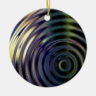Abstract Bamboo In Purple Round Ceramic Decoration