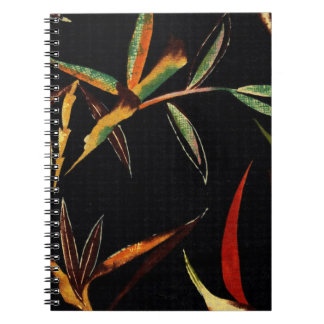 Abstract Bamboo Leaves Green Orange Red Black Spiral Notebook