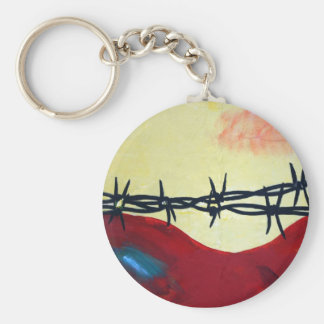 Abstract - barbed wire basic round button key ring