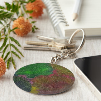 abstract basic round button key ring