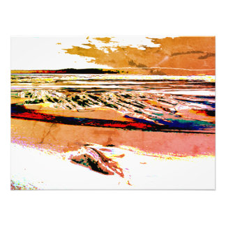 """Abstract Beach canvas"" orange sunset Canvas Print"