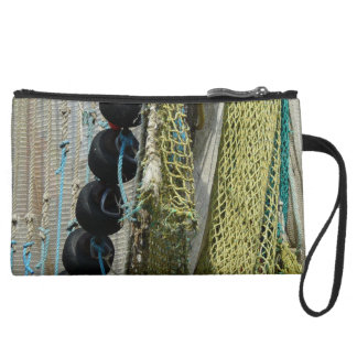 abstract beach fishing nets wristlet or makeup bag