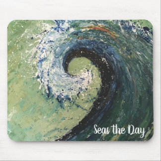 Abstract Beach Wave Fine Art Painting Mouse Pad